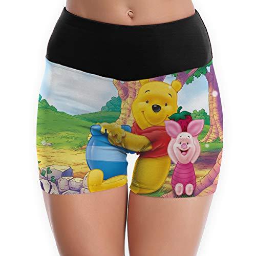 JINUNNU Yoga Shorts Pants Winnie Pooh Honey Running Shorts, Gym & Workout Shorts for Women White