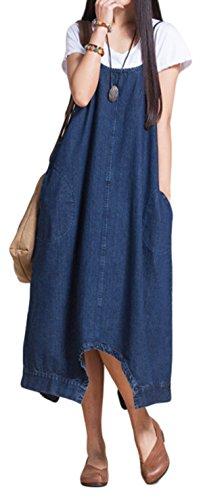 Women's Loose Denim Suspender Trousers Wide Leg Overalls Dress Jumpsuit Romper Harem Pants Plus Size (US L/TAG XL, Blue) (Dress Pants Baggy)