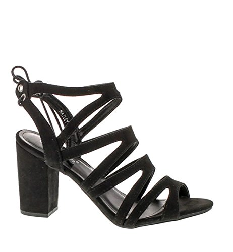 Top Moda Hailey-1 Women's Cutout Tie Back Stacked Chunky Platform Heel (Hailey Platform)