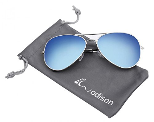 WODISON Vintage Reflective Mirror Lens Metal Frame Aviator - Aviators Men Sunglasses For