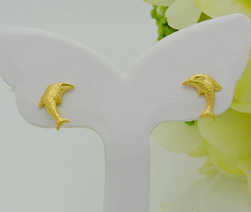 Gorgeous 22k 23k 24k Yellow Gold Plated Women Girl Stud (24k Dolphins Earrings)