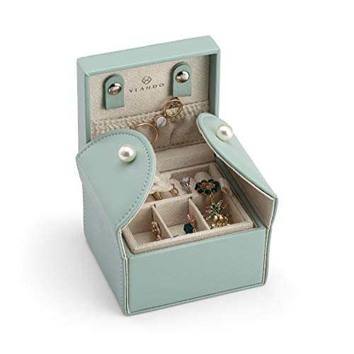 Earring Leather Gift Boxes (Vlando Small Wooden Jewelry Box Organizer - Microfiber PU Leather Box - Stud Closing & 2-Tier Storage Case for Earrings Rings Necklaces - Best Gifts for Girls Women Ladies - Aqua Green)