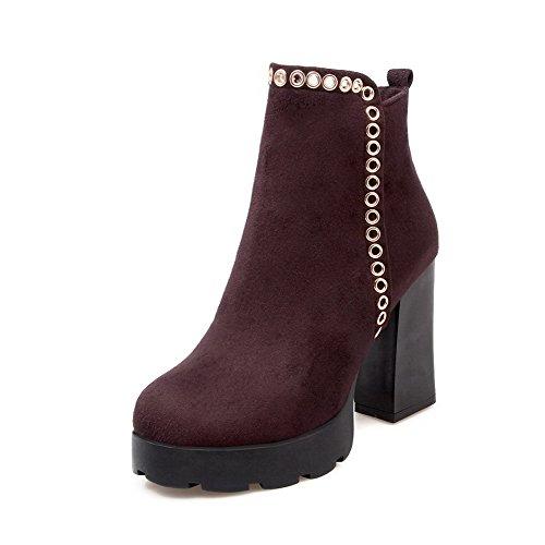 Boots Solid Round High AgooLar Women's Metal with Closed Toe PU Brown Zipper Heels qxRfwB