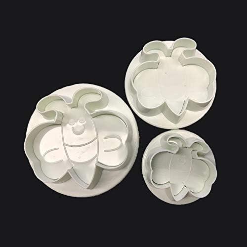 焼き型 3枚/セットフォンダンツールミツバチチョコレートベーキングモールドケーキを飾るためのDIYプラスチックアニマルクッキーカッターSugarcraftカッター (Color : Random)