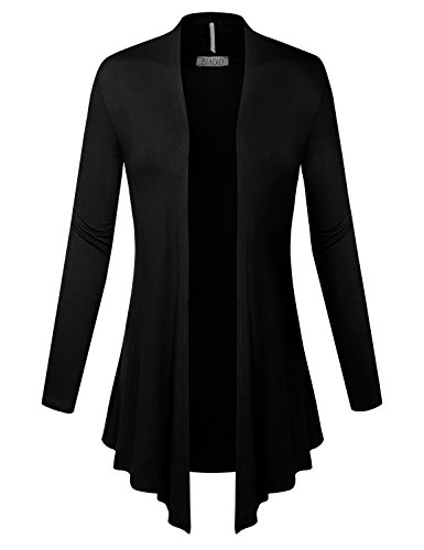 BIADANI Women Open Front Lightweight Cardigan with Side Pockets Black - Sweater For Black Dress