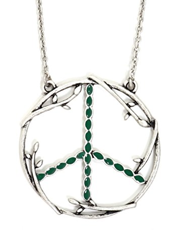 Magic Metal Peace Sign Necklace Silver Tone Branches Flower Power Hippie Anti War Pendant NT18 Fashion Jewelry