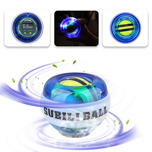 EKOOS [Upgraded] Power Wrist Ball AUTO Start Wrist Exercises Force Ball Gyroscope Ball,Auto-Start Wrist Trainer Ball Forearm Exerciser Powerball Wrist Strengthener Workout Spinner Gyroscope Ball