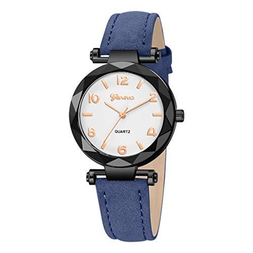 chenqiu Fashion Geneva Watch, Ladies Luxury Waterproof Trend Leather Strap Simulation Quartz Drill Watch Casual Business ()