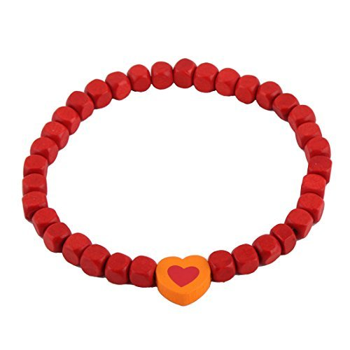 DealMux Contas de Madeira Heart Shaped colar colar de pingente Decor Stretchy Pet Linked