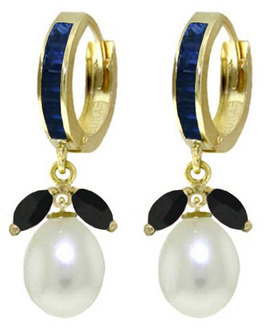 14k Yellow Gold Hoop Earrings with Sapphires and Pearls 14k Yellow Gold Sapphire Hoop Earrings