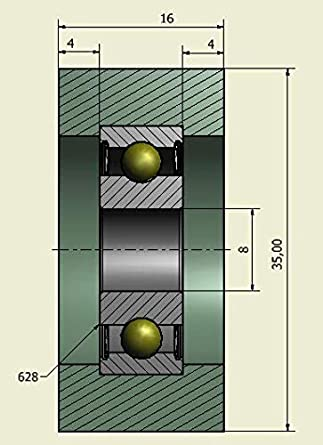 10 mm Wide Confezione di 4/x ruota in poliuretano rigido gomma rulli Made in EU 23 mm Diameter 4