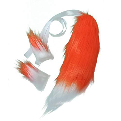 Fluffy Faux Fur Fox Tail Ears Hair Clips for Kids Cosplay Costume Halloween Dress Up Kits -