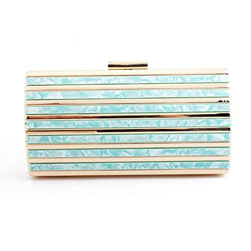 Gift Patch With Party Pattern Womens Handbags For Prom Marble Chain Blue Clutch Acrylic twOaqWFP