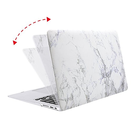 MOSISO Plastic Pattern Hard Case Shell with Keyboard Cover with Screen Protector Compatible MacBook Air 13 Inch (Model: A1369 and A1466), White Marble by MOSISO (Image #4)