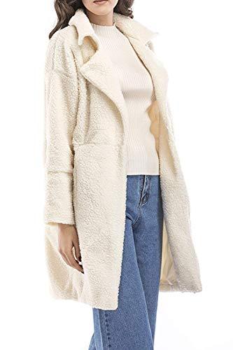 Tempo Manica Donna Lunga Comodo Fashion Calda Bavero Giacca Style Outerwear Solidi Colori Eleganti Bianca Libero Giaccone Ragazze Cappotto Festa Termico Invernali Coat rdxsQthC