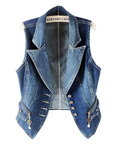 応用かもしれない中国(グードコ) ジャケット レディース ジレベスト デニム 袖なし ダメージ チョッキ 襟付き 羽織物 大きいサイズ