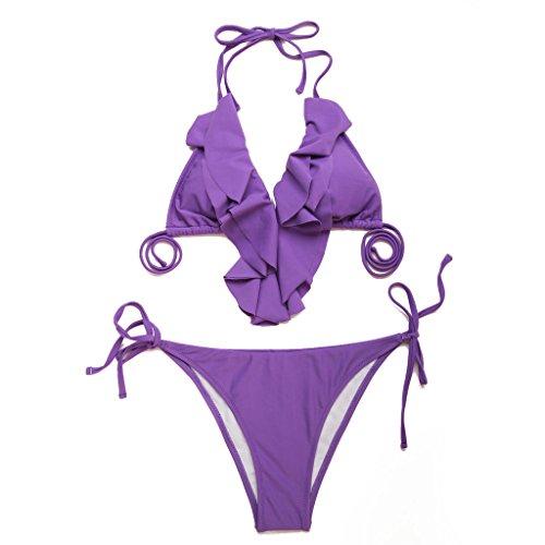 triangolo set volant RELLECIGA bikini Viola donna e laccetti con a costume top Y8dnxdR