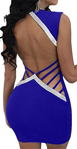 Jewelry Bodycon Club Neck Women's Hollow Dress Blue V Sleeveless Backless Cromoncent q6z0TRq