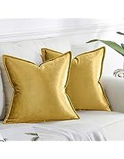 OMMATO Gouden Kussenslopen 40 cm x 40 cm Vierkante Fluwelen Decoratieve Gooi Kussenslopen voor Bank Bank Woonkamer 16x16 inch 2 Pack