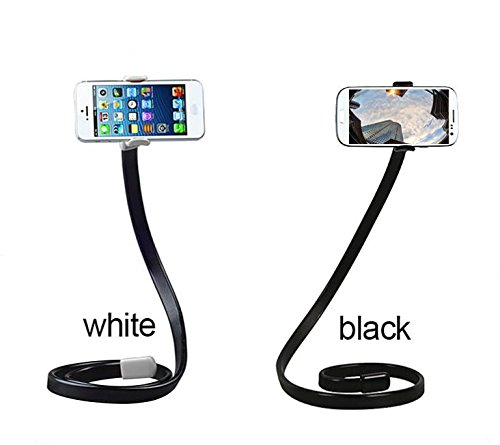 Price comparison product image OCTO MOUNTS - Universal 360 Degree Flexible Cellphone Camera Stand Holder or Selfie Stick,  Lazy Bracket with Flexible Arm for iPhone Galaxy Android Samsung WHITE