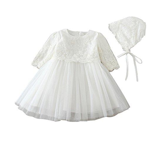 ZAMME Vestido de niña de niña de bautizo bautizos vestido de niña de flor Manga Larga