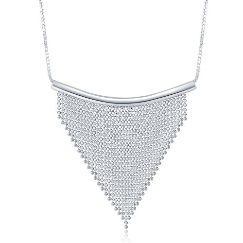 MBLife 925 Sterling Silver Beaded Bib Fringe Tassel Pyramid Triangle Collar Choker Necklace (16