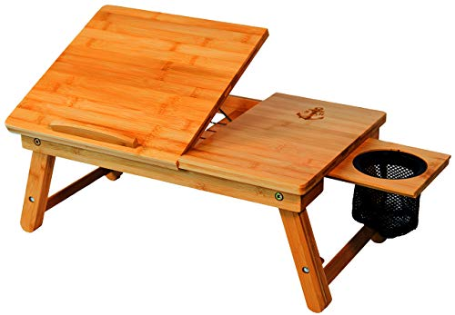 (stock harbor Laptop Lap Desk, Bed Tray of Sturdy Bamboo with Heavy Duty Drink Storage Net, Surface Holder, Adjustable, Foldable and Large for All Your LapDesk Multitasking)