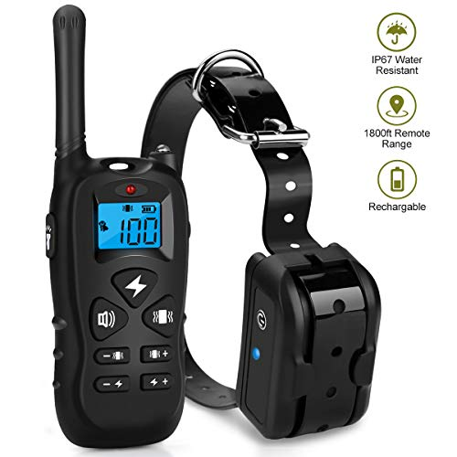Mothga Dog Training Collar with Remote 600 yds [2018 Upgraded Version] Waterproof Rechargeable with Beep/Vibration/Electric Shock Modes for Small Medium Large Dogs -No Problem with Swimming/Shower (Shower Remote Electric)