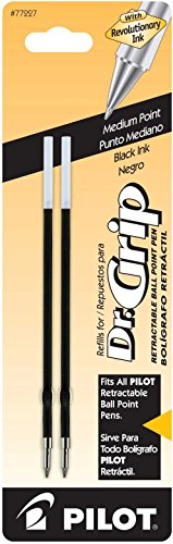 Pilot Dr. Grip Ballpoint Ink Refill, 2-Pack for Retractable Pens, Medium Point, Black Ink (77227)