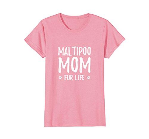 Maltese Poodle - Womens Maltipoo Mom Fur Life T-Shirt for Maltese Poodle Dog Mom Medium Pink