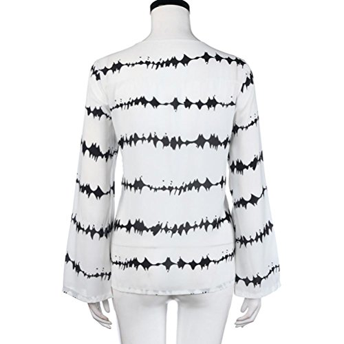 Casual Chevauchement Longue Haut V Shirts Chemises en Blouse ~ XXXL Chemisier Ray Vrac Col Taille Grande Shirt Blanc Manche T Chiffon Sexy Femmes S Fille Wolfleague UZHwqYO