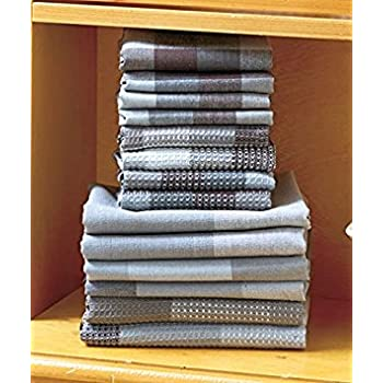 14 Pc Charcoal Gray Woven Cotton Kitchen Plaid Check Towel & Dishcloth Sets