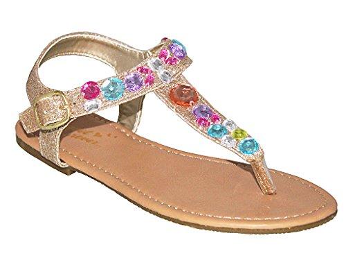 Girls Glitter Sandal with Rainbow Rhinestones, GOLD, SIZE 12