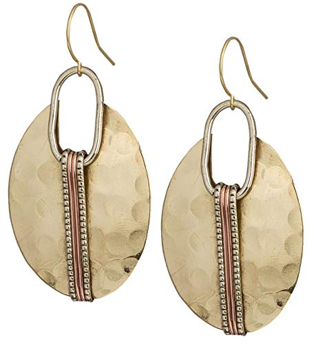 Boho Oval Gold Ethnic Hammered Earring for Women| SPUNKYsoul Collection ()