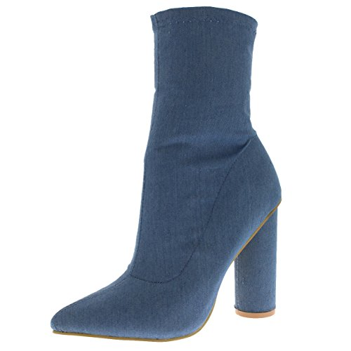 Viva Womens Sock Fit Pointed Toe Fashion Chic Dress Block Heel Ankle Boots Denim