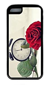 iPhone 5C Case, Personalized Protective Rubber Soft TPU Black Edge Case for iphone 5C - Red Rose Cover