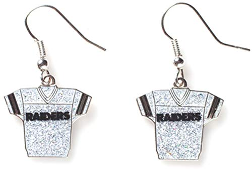 NFL Oakland Raiders Glitter Jersey Earrings