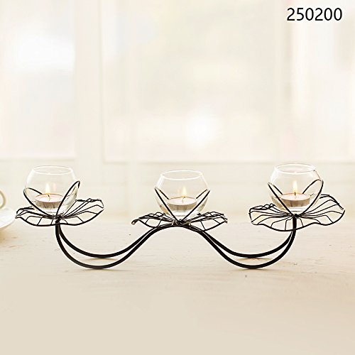 SLXTE-Romantic wedding table decorations, iron candlestick, lotus, Candlestick, candle dinner items, ornaments,Three head