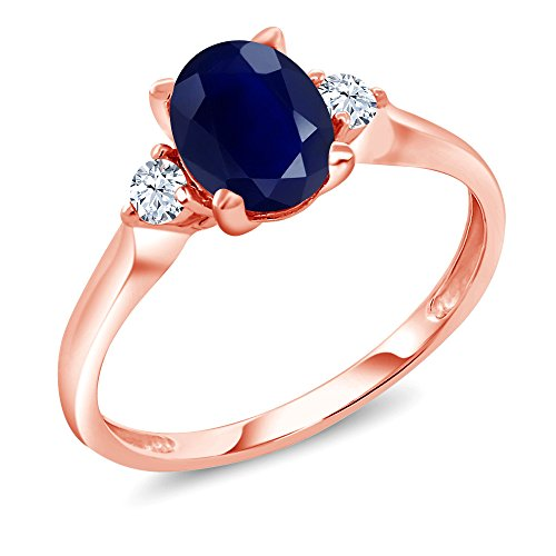 Gem Stone King 10K Rose Gold Blue Sapphire and White Created Sapphire 3-Stone Women's Ring 1.89 Ctw Oval (Size 7)