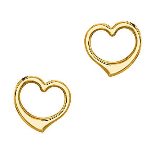Mini Heart Post Earrings - Ritastephens 14k Yellow Gold Open Heart Mini Post Stud Shiny Earrings Small Screw Backs