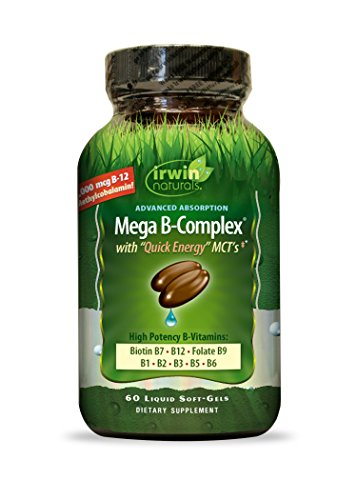 Irwin Naturals Mega-B Complex - 1,000 mcg B-12 - High Potency B-Vitamins with Quick Energy MCTs - 60 Liquid Softgels