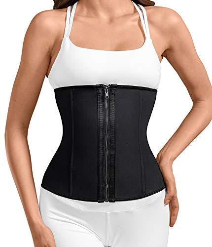 Camellias Women's Hourglass Waist Slimming Latex Zipper and Hook Waist Trainer Corset Body Shapewear, SZ2219-Black-M