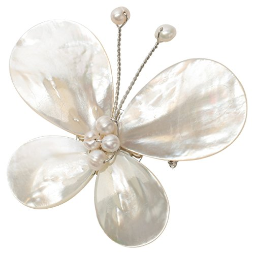 Szxc Women's Pearl White Shell Butterfly Brooch Pin Jewelry