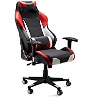 High-Back Computer Gaming Chair, Ergonomic Swivel Racing Style Bucket Seat Leather Office Chair with Detachable Neck Cushion Lumbar Support for Home Office, 300 Lbs. Weight limit from SLYPNOS
