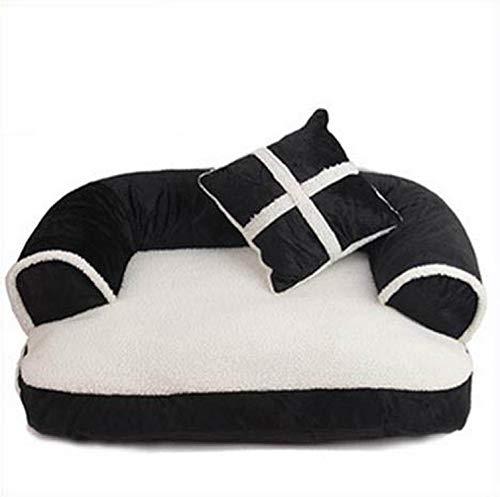 (sevenTimes Luxury Comfortable Pet Sofa Warm Soft Velvet Large Dog Bed Puppy House Kennel Cozy Cat Nest Sleepping Mat Cushion Pet Bedding,Black,60X40X11Cm)
