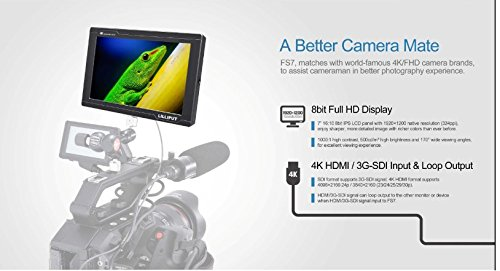LILLIPUT FS7 7'' Full HD Camera Monitor with 3G-SDI and 4K HDMI Metal Housing High Resolution F970 Plate for Camcorder DSLR by Lilliput (Image #2)