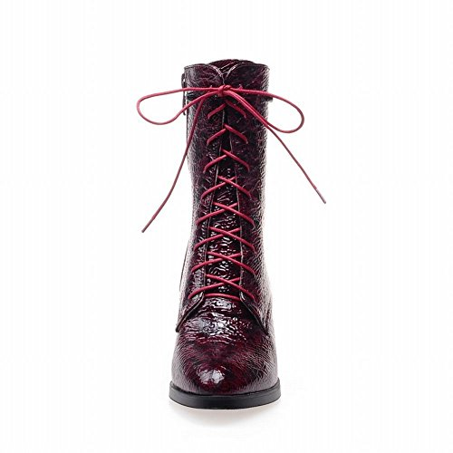 Carolbar Mujeres Zipper Lace Up Fashion Comfort Chunky Mid Heel Riding Botas Para Moto Wine Red