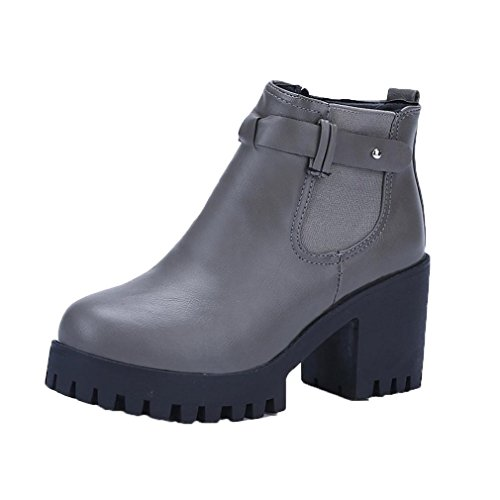 Damen Stiefeletten, SHOBDW Frauen Stiefel Square Heel Plattformen Schenkel High Pumpe Stiefel Motorrad Schuhe Grau