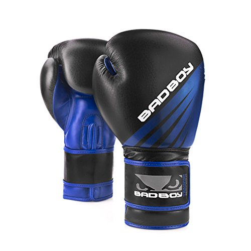 Bad Boy Training Series Synthetic Leather Sparring Boxing Gloves Black/Blue - 10 oz