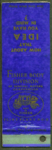 (GM Fisher Body Division Flint Plant #2 MI matchcover )